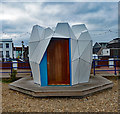 TV6199 : Eastbourne : 'What unearthed?' beach hut by Julian Osley