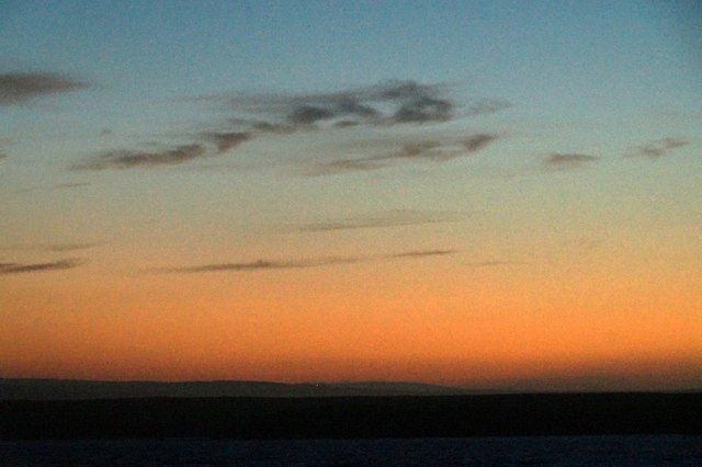 Evening sky over Hascosay from Brough, Fetlar