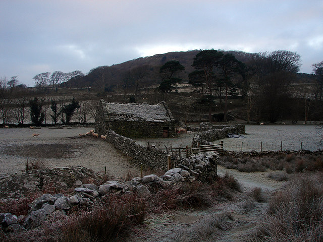 Ancient barn on the Crafnant estate