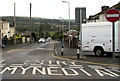 SS9083 : No Entry for vehicles to one-way Heol Ynysawdre, Sarn by Jaggery