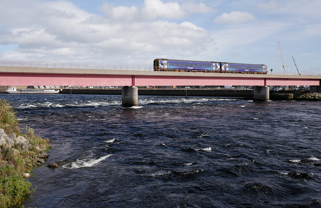 Train crossing the Ness Viaduct