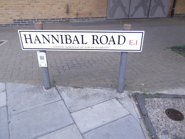Street sign, Hannibal Road E1