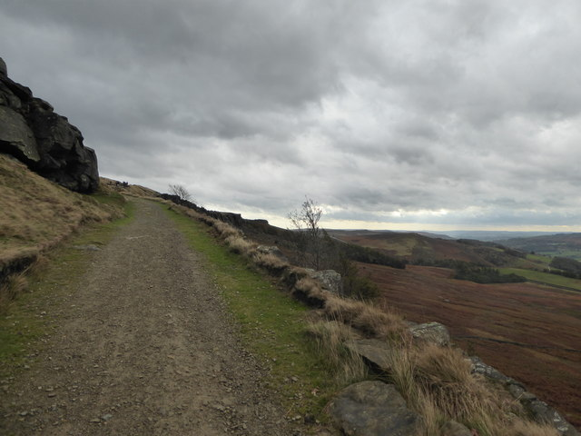 Looking up Long Causeway towards Stanage Edge