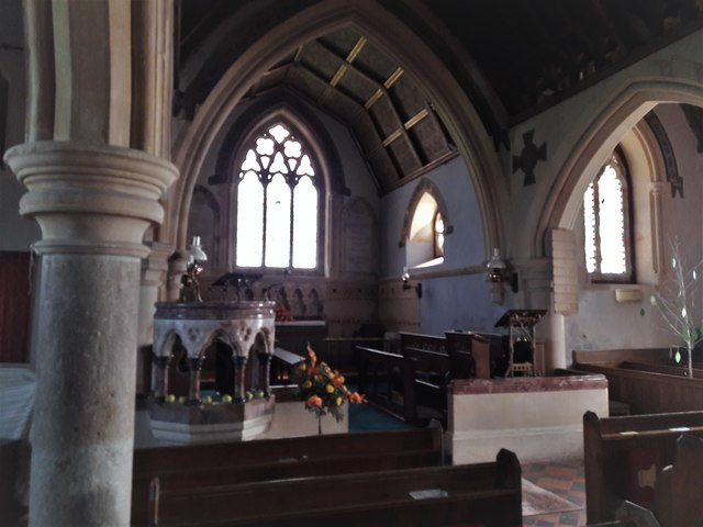 St Giles in the Wood church:  pulpit and chancel