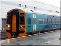 SN5881 : An Arriva train arriving at Aberystwyth in the midst of Storm Callum by John Lucas