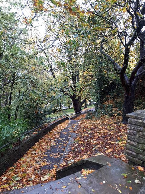 Clitheroe Castle park: autumn paths