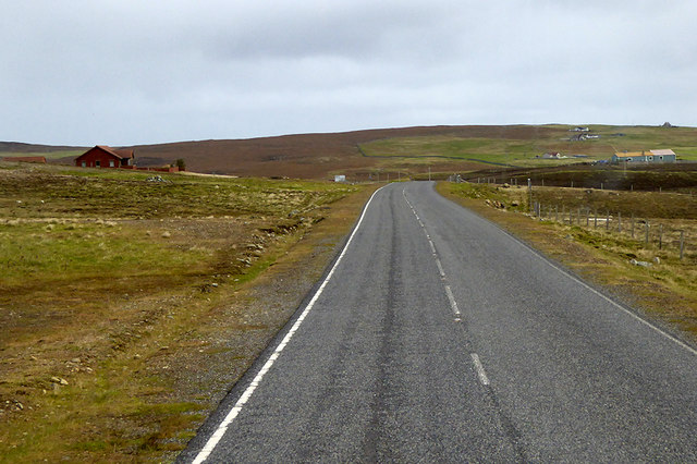 Single House next to the A968 west of Uyeasound