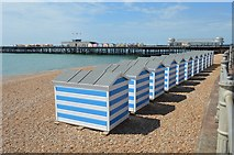 TQ8109 : Beach huts by N Chadwick