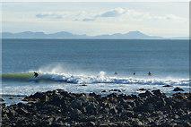 SH3368 : Surfers, Porth Cwyfan, near Aberffraw, Anglesey by Robin Drayton