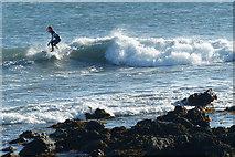 SH3368 : Surfer, Porth Cwyfan, near Aberffraw, Anglesey by Robin Drayton