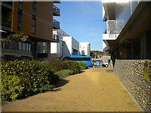 TG2407 : Footpath to Geoffrey Watling Way, Norwich by Richard Vince