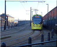 SD8912 : Metrolink tram approaching Rochdale Railway Station by JThomas