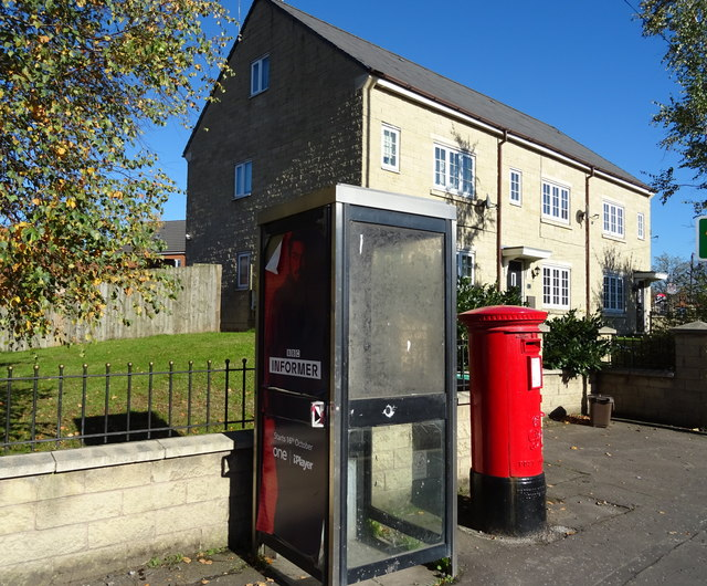 George VI postbox and telephone box on Featherstall Road, Littleborough