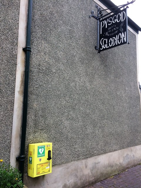 Fish and chips (Pysgod a sglodion) and a defibrillator