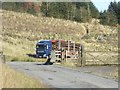 NT2507 : Timber lorry approaching the summit of the B709 by Oliver Dixon