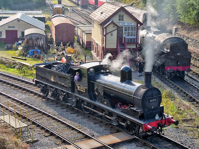 Victorian Steam Locomotive at Bury South Signal Box