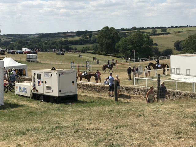 Showjumping warm-up arena at Gatcombe Horse Trials