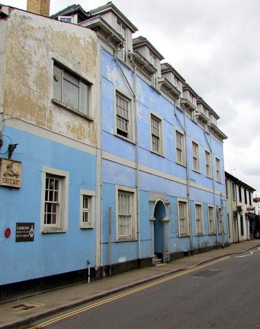 Blue building in High Street, Caerleon
