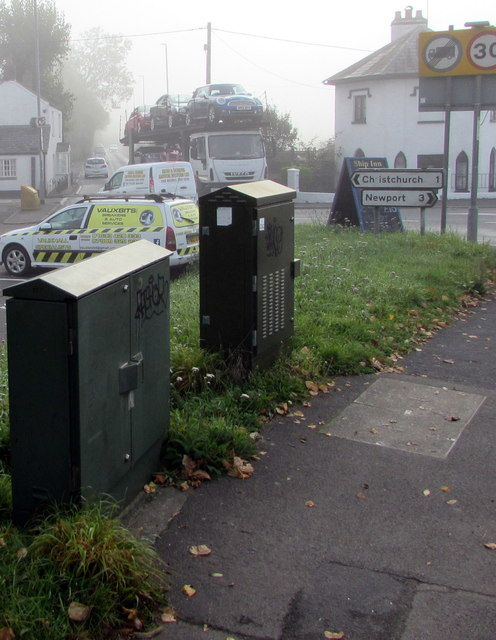 Two telecoms cabinets in fog, Caerleon