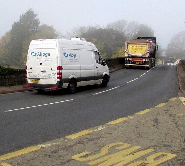 Alloga van on the B4596 in Caerleon