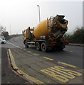 ST3490 : Yellow CRC concrete lorry on the B4596, Caerleon by Jaggery