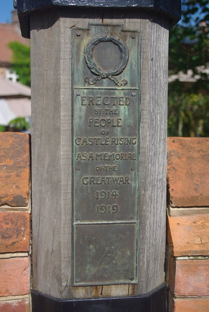 Castle Rising war memorial plaque