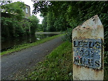 SD8537 : Milepost along the Leeds and Liverpool Canal towpath by Mat Fascione