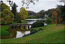 ST7733 : View west across the ornamental lake, Stourhead by Brian Robert Marshall