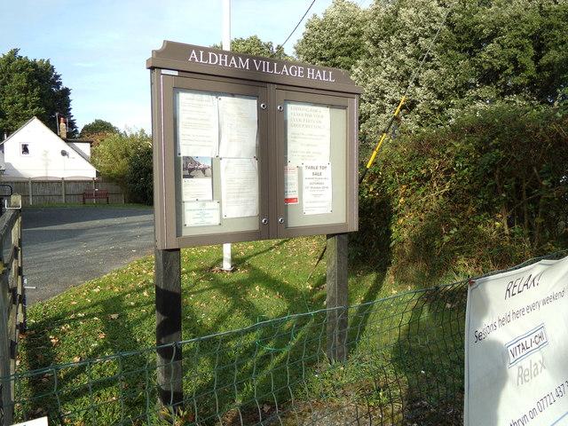Aldham Village Hall Notice Board