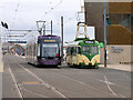 SD3036 : Old and New Trams at the Wedding Chapel by David Dixon