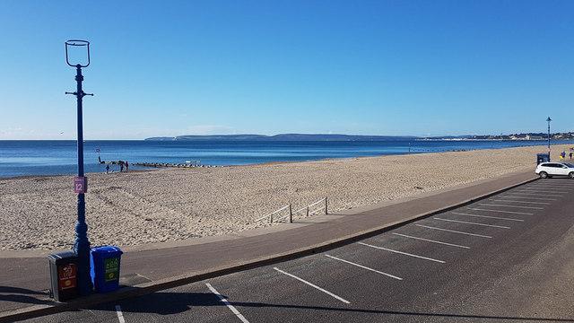 Boscombe beach with blue sea