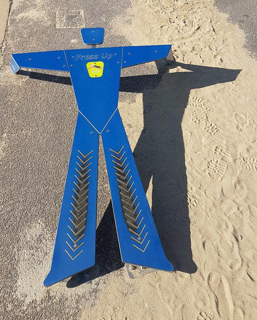 Encouragement to exercise on Boscombe beach