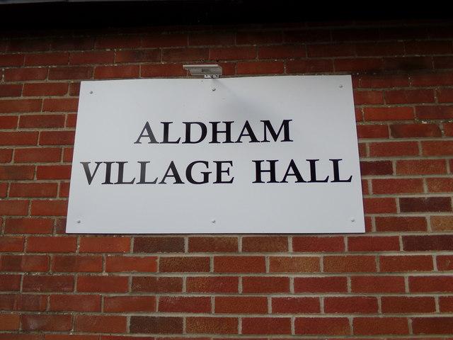Aldham Village Hall sign