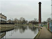 TQ3681 : Chimney stack by Regent's Canal by Robin Webster