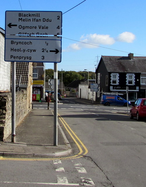 Wigan Terrace directions and distance sign, Bryncethin