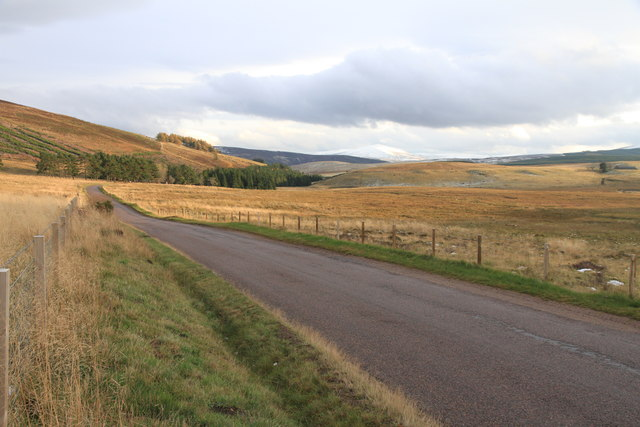 The A941 heading south east from Glacks of Balloch