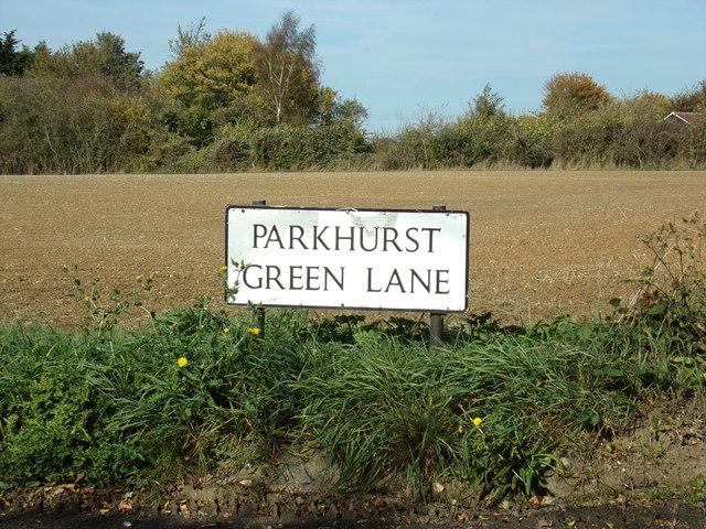 Parkhurst Green Lane sign