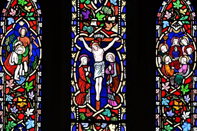 Selham, St. James' Church: Victorian stained glass east window (detail)