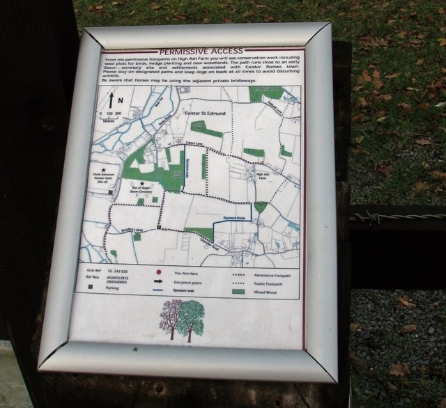 Map of the permissive paths on High Ash Farm
