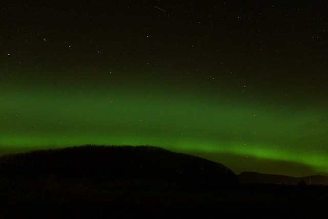 Ursa major and aurora borealis over Halligarth, Baltasound