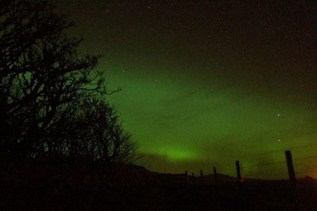 Aurora borealis over Halligarth, Baltasound