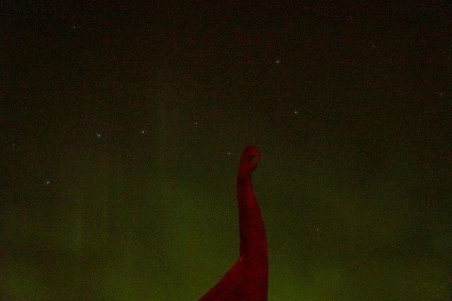 The Plough and aurora borealis over the replica Viking ship Skibladnir, Haroldswick