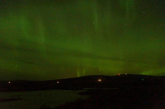 Aurora borealis over Haroldswick pool