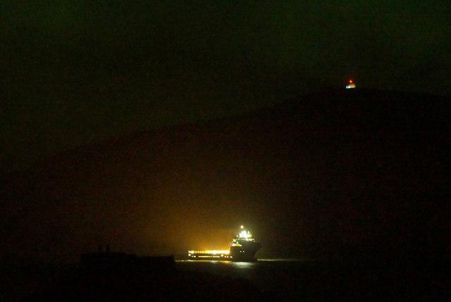Rig support vessel at Burrafirth