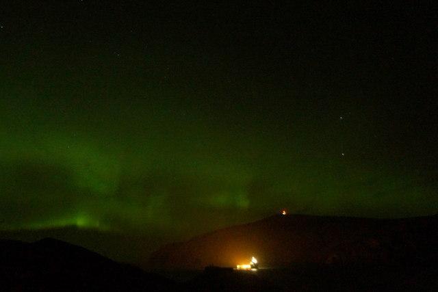 Aurora borealis over Burrafirth