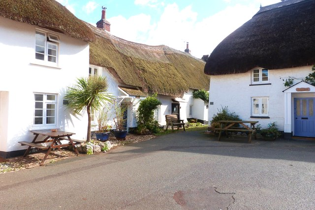 Thatched cottages surrounding the square, Inner Hope, Devon