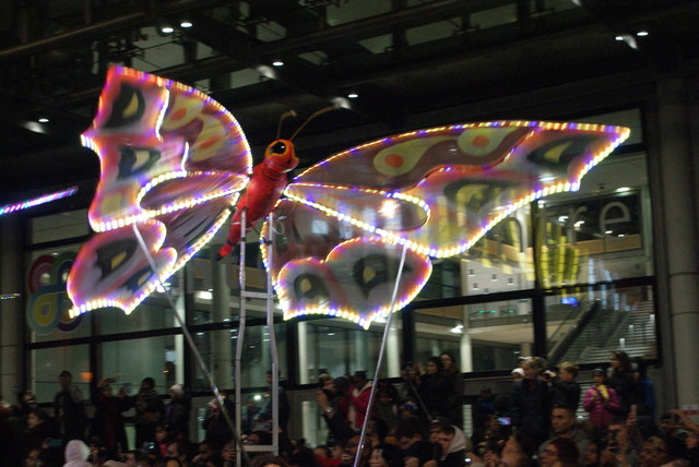 View of a butterfly in the lantern parade of Light Up The Night