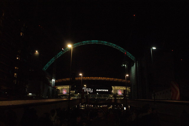 View of Wembley Stadium from Olympic Way