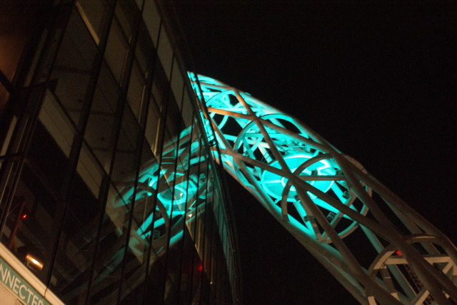 View of the Wembley Stadium arch from the stadium walkway
