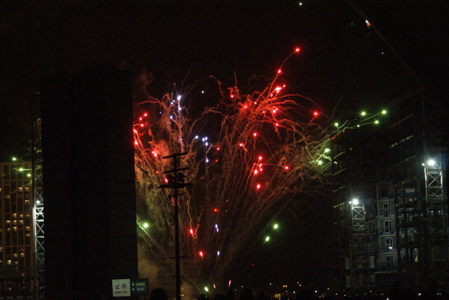 View of fireworks in the Light Up the Night event from the Wembley Stadium walkway #3